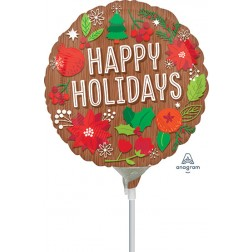 "4"" Woodgrain Happy Holidays"
