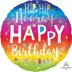 Jumbo Holographic Hip Hip Hooray Birthday
