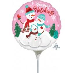 """4"""" Happy Holidays Snow Family"""
