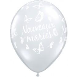 """11"""" Nouveaux mariés - Papillons Diamant Clair  (50/sac)"""