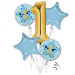 Bouquet Boy 1st Birthday Blue & Gold