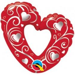 "14"" Hearts & Filigree Red"