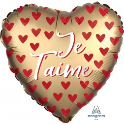 Standard Je t'aime Satin Red Hearts