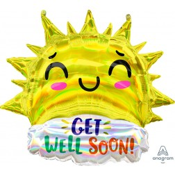 SuperShape Holographic Iridescent Get Well Happy Sun