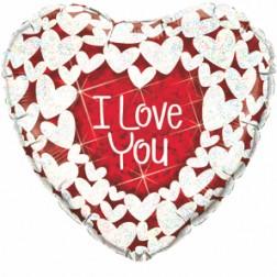 "09"" I Love You Glitter Hearts Holograph"