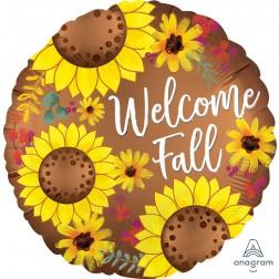 Standard Welcome Fall Satin Sunflowers