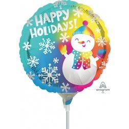 "9"" Happy Holidays Satin Snowman"