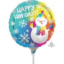 "4"" Happy Holidays Satin Snowman"