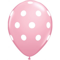 """11"""" Big Polka Dots Pink with White Ink 50Ct"""