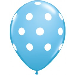"""11"""" Big Polka Dots Pale Blue with White Ink 50Ct"""