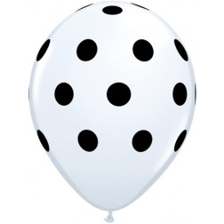 """11"""" Big Polka Dots White with Black Ink 50Ct"""