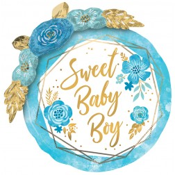 Multi-Balloon Baby Boy Floral Geo