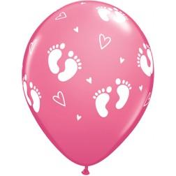 "11"" Baby Footprints & Hearts Rose 50Ct"