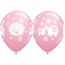 "11"" It's A Girl Elephants Pink 50Ct"