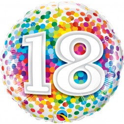 "18"" 18 Rainbow Confetti"