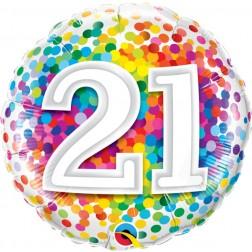 "18"" 21 Rainbow Confetti"
