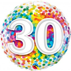 "18"" 30 Rainbow Confetti"