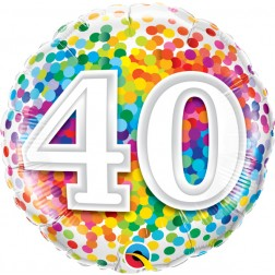 "18"" 40 Rainbow Confetti"
