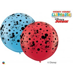3' Disney Mickey Mouse-A-Round Asst Red & Pale Blue (2ct)