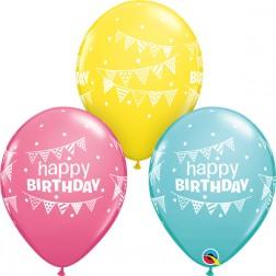 "11"" Birthday Pennants & Dots Asst. Rose, Yellow & Carribean Blue (50ct)"