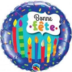 """18"""" Bonne Fete - Chandelles et confettis"""