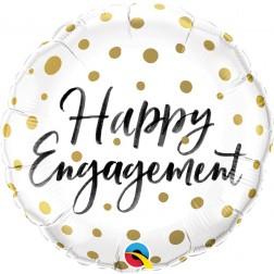 "18"" Happy Engagement Gold Dots"