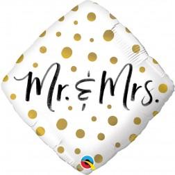 "18"" Diamond Mr. & Mrs. Gold Dots"