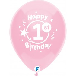 """Funsational 12"""" 1st Birthday Party  Asst. (8 ct.)"""
