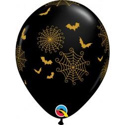 "11"" Spider-Webs & Bats Onyx Black (50 ct)"
