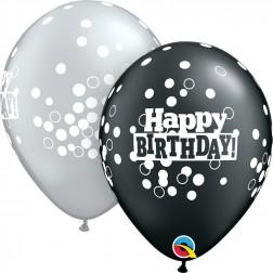 "11"" Birthday Confetti Dots Asst. Pearl Onyx Black & Silver (50 ct.)"