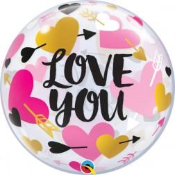 "Bubble 22"" Love You Hearts & Arrows"