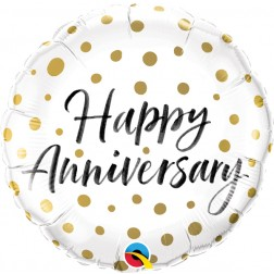 """18"""" Happy Anniversary Gold Dots (pkgd)"""