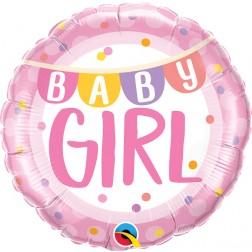 """18"""" Baby Girl Banner & Dots (pkgd)"""