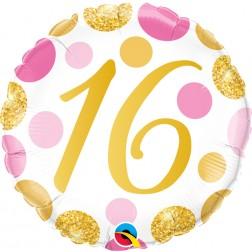 "18"" 16 Pink & Gold Dots"