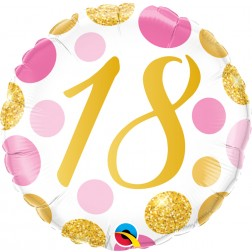 "18"" 18 Pink & Gold Dots"