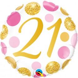 "18"" 21 Pink & Gold Dots"