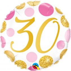 "18"" 30 Pink & Gold Dots"