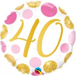 "18"" 40 Pink & Gold Dots"