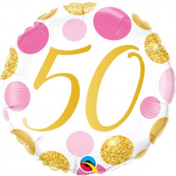 "18"" 50 Pink & Gold Dots"