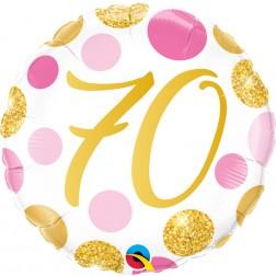 "18"" 70 Pink & Gold Dots"