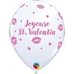 "11"" St. Valentin - Bisous Blanc (50/sac)"