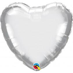 """18"""" Chrome Silver Heart"""
