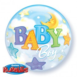 "Bubble 22"" Baby Boy Moon & Star"