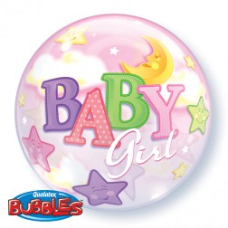 "Bubble 22"" Baby Girl Moon & Star"