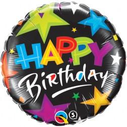 "18"" Birthday Brilliant Stars Black"