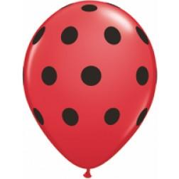 "05"" Big Polka Dots (Blk) Red 100Ct"