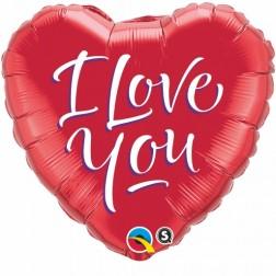 "18"" I Love You Script Modern Heart"