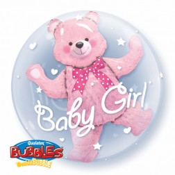 """Double Bubble 24"""" Baby Pink Bear"""