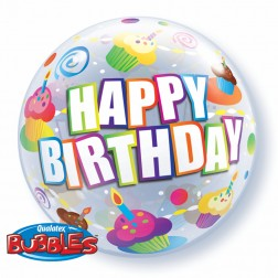 """Bubble 22"""" Birthday Colorful Cupcakes"""