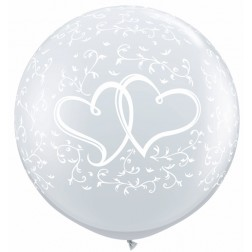3ft Entwined Hearts-A-Round Diamond Clear 02Ct
